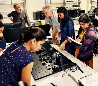 students learn how the microscope works